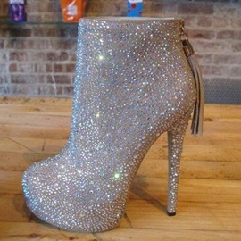 ericdress strass plate-forme bout rond bottes à talons hauts