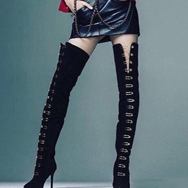 Ericdress Sexy Sequin Plain Stiletto Heel Thigh High Boots