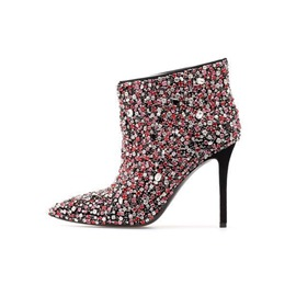 Ericdress Rhinestone Pointed Toe Stiletto Heel Boots