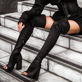 Ericdress Silk Fabric Hollow Chunky Heel Knee High Boots
