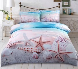 Vivilinen Starfish and Shells on the Beach Printed Cotton 4-Piece 3D Bedding Sets/Duvet Covers