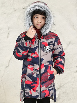 Ericdress Camouflage Zipper Mid-Length Boy's Down Jacket