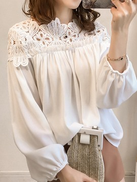 Ericdress Plain Loose Hollow Lace Blouse