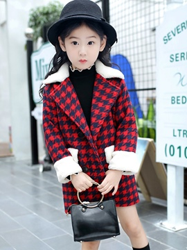 Ericdress Lapel Plaid Woolen Patchwork Girls' Overcoat