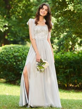 Ericdress Scoop A Line Beaded Long Bridesmaid Dress