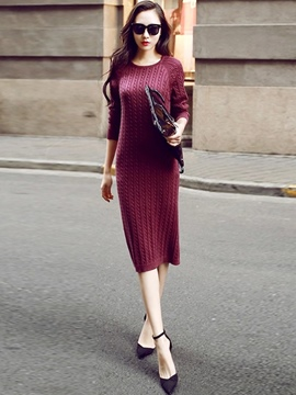 Ericdress Bodycon Mid-Calf Round Neck Long Sleeve Pullover Winter Dress