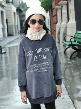 Ericdress Letter Print Mid-Length Thicken Girl's Sweater