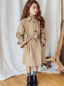 Ericdress Lapel Single-Breasted Lace-Up Girl's Overcoat