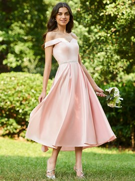 Ericdress Off the Shoulder A Line Tea Length Bridesmaid Dress