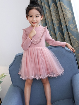 Ericdress Round Neck Knitting Mesh Patchwork Girl's Dress