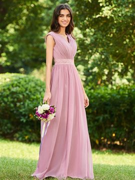 Ericdress V Neck Lace Pleats Bridesmaid Dress