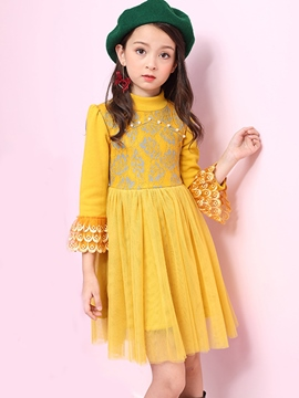 Ericdress Flare Sleeve Mesh Pleated Girl's Princess Dress