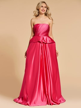 Ericdress A Line Strapless Layers Evening Dress With Sweep Train