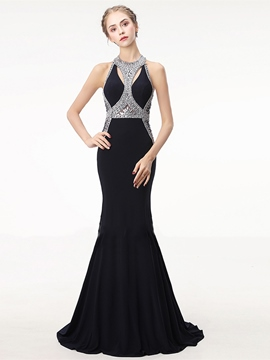 Ericdress Jewel Neck Backless Mermaid Evening Dress With Beadings