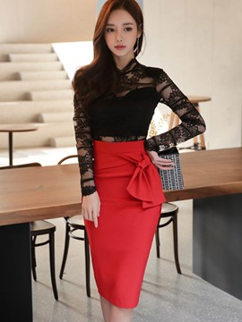Ericdress Skirt and Lace Shirt Women's Suit