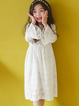 Ericdress Lace Hollow Flare Sleeve Gir's Dress