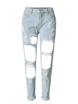 Ericdress Denim Casual Women's Ripped Jeans