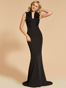 Ericdress Sheath V Neck Applique Beaded Black Evening Dress