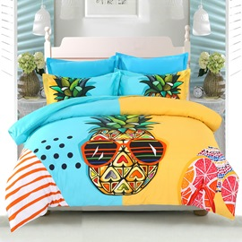 Adorila 60S Brocade Cool Pineapple Seaside Leisure Casual Style 4-Piece Cotton Bedding Sets