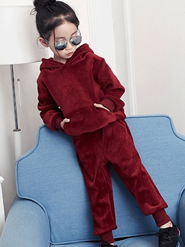 Ericdress Velvet Thick Winter Girl's 2-Pcs Outfit