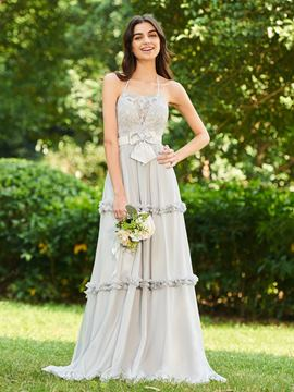 Ericdress Halter Backless Lace Bridesmaid Dress