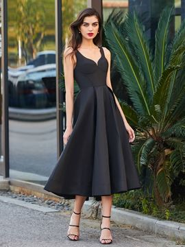 Ericdress A Line Tea Length Straps Backless Black Cocktail Party Dress