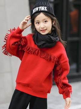 Ericdress Tassel Patchwork Plain Girl's Sweater