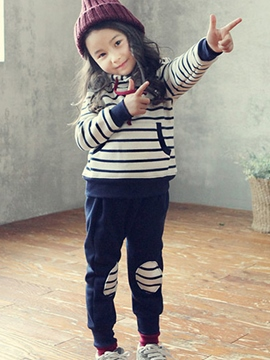 Ericdress Sport Casual Stripe 2-Pcs Girl's Outfit