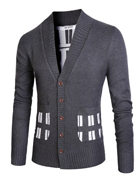 Ericdress Single-Breasted Patchwork Men's Cardigan Sweater