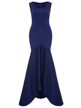 Eicdress Royal Blue Back Zipper Plain Maxi Dress