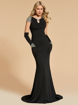 Ericdress Beaded Cap Sleeve Bateau Neck Mermaid Evening Dress With Gloves