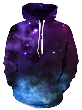 Ericdress Loose Lace-Up Pullover Galaxy Men's Hoodie