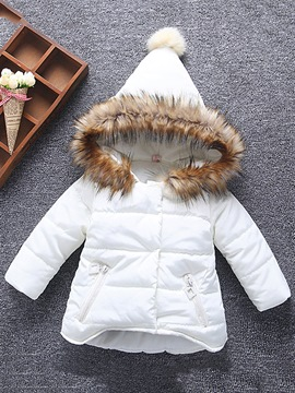 Ericdress Faux Fur Hooded Zipper Baby Girls' Down Jacket