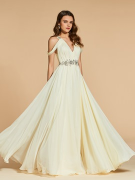 Ericdress A Line Off The Shoulder Beaded Long Evening Dress
