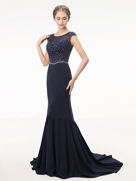 Ericdress Cap Sleeve Beaded Mermaid Evening Dress