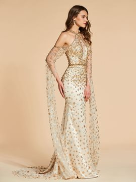 Ericdress Long Sleeve Beaded Mermaid Evening Dress