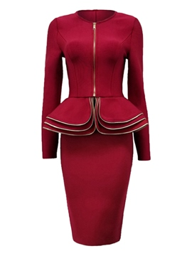 Ericdress Zipper Jacket and Skirt Women's Suit