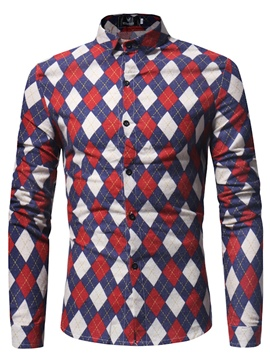 Ericdress Lapel Geometric Patterns Long Sleeve Men's Shirt