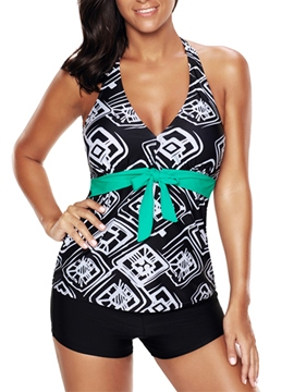 Ericdress V-Neck Geometric Print Boyshorts Plus Size Tankini Set