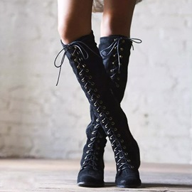 Ericdress Sexy Pointed Toe Cross Strap Knee High Boots