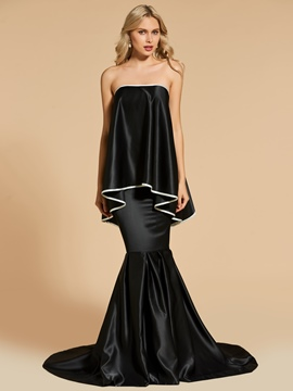 Ericdress Strapless Mermaid Black Evening Dress With Court Train