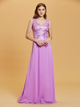 Ericdress V Neck Beaded Sequins A Line Evening Dress