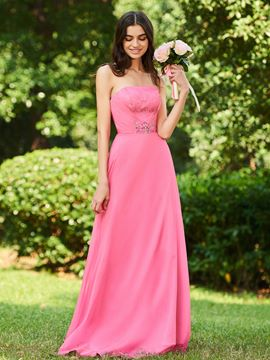 Ericdress Strapless A Line Lace Bridesmaid Dress
