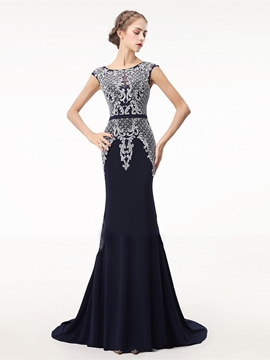 Ericdress Mermaid Cap Sleeve Beading Crystal Evening Dress