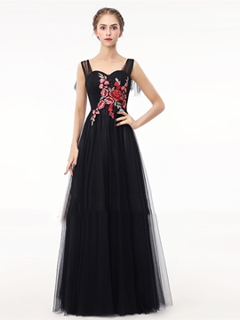 Ericdress A Line Straps Embroidery Long Evening Dress