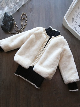 Ericdress Bead Faux Fur Long Sleeve Girl's Cardigan
