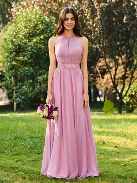 Ericdress Halter A Line Appliques Long Bridesmaid Dress