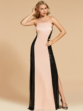 Ericdress Sheath Strapless Contrast Color Backless Evening Dress