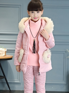 Ericdress Winter Down Jacket & Shirt & Pants Girl's Outfit