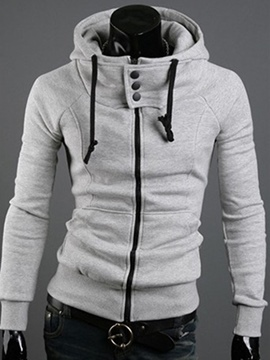 Ericdress Hooded Zip Up Slim Men's Hoodie